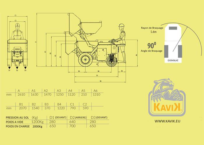 kaivk dumper electrique caracteristiques techniques